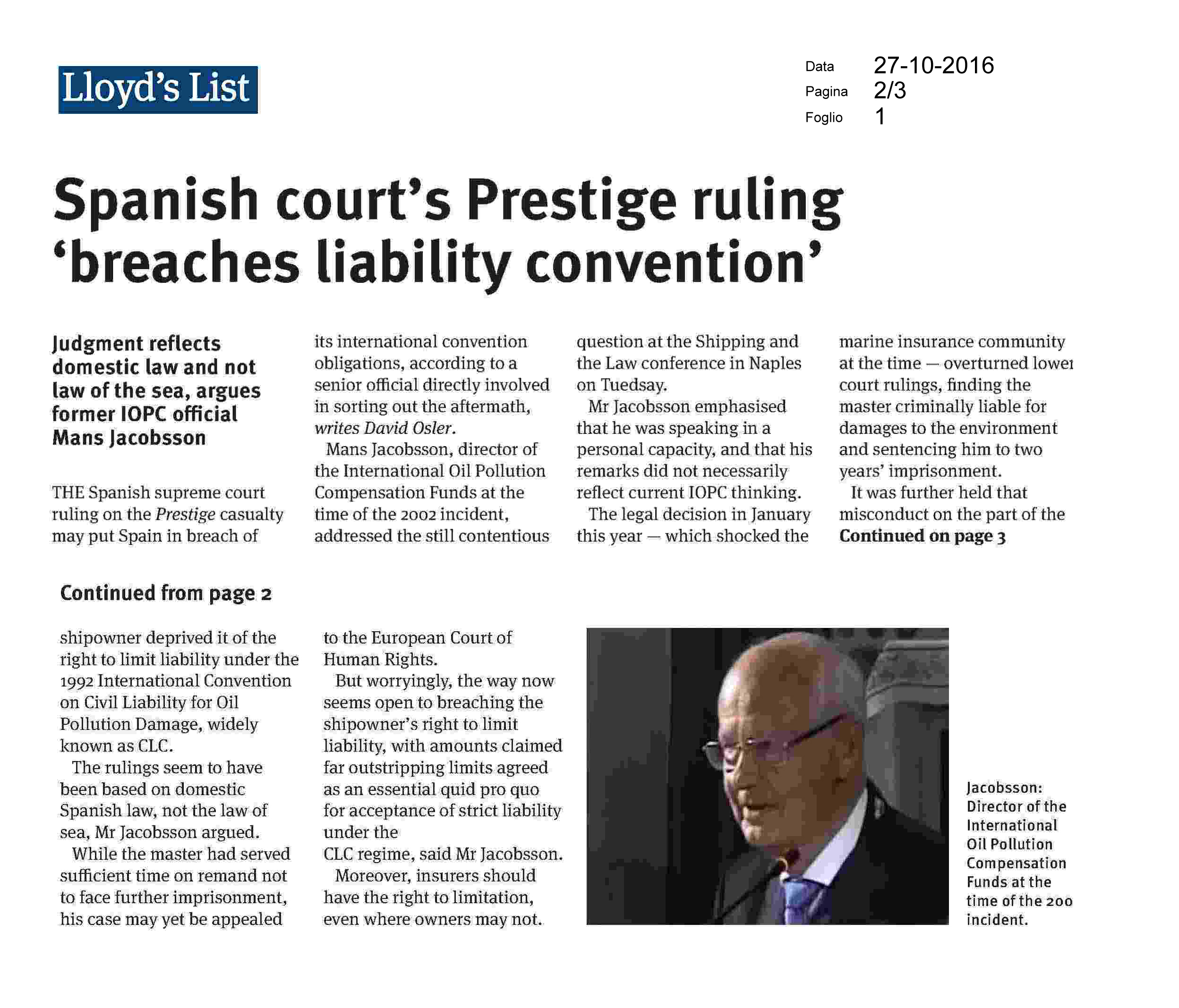 Shipping and the law | LLOYD'S LIST – Spanish court's Prestige